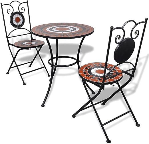 honglianghongshang Muebles de jardín Conjuntos de jardínSet Mesa y sillas de jardín 3 pzas Mosaico Terracota y Blanco: Amazon.es: Hogar