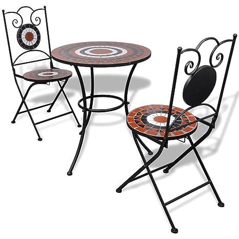 Tavoli Da Esterno In Mosaico.Vidaxl Tavolo Da Giardino Con Mosaico 60 Cm E 2 Sedie Terracotta Bianco