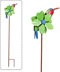 MorTime Hummingbird Wind Spinner Garden Stake, 41 Inch Decorative Flamingo Wind Sculpture Metal Green Flower Flamingo Windmill for Spring Outdoor Yard Lawn Pathway Decorations