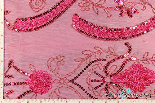 Fuchsia Pink Scalloped Flower Sequined Lace Fabric Polyester 48-50