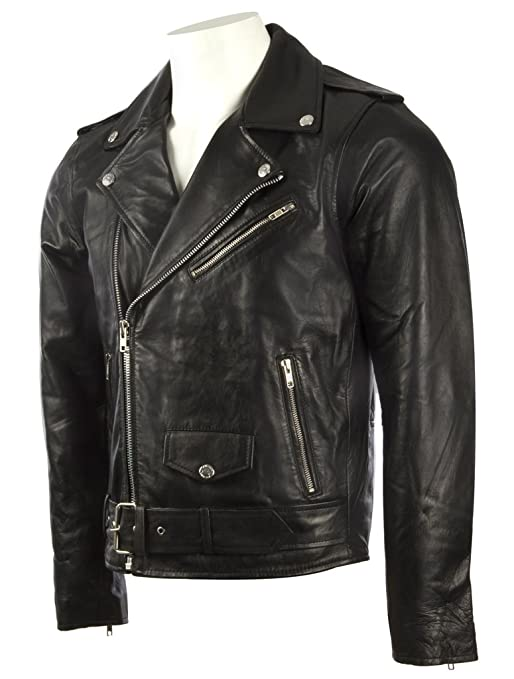 MDK Mens Black Belted Biker Jacket In Real Cow Hide Leather or Super-Soft Sheepskin Leather at Amazon Mens Clothing store: