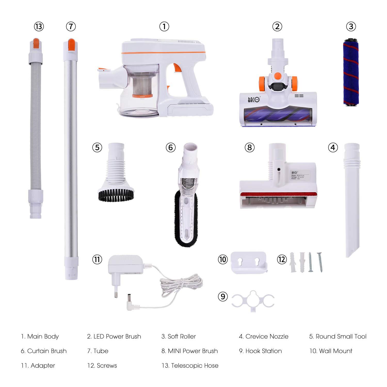 250W Scopa elettrica con aspirazione 3 diverse spazzole Sistema di filtrazione a ciclone a 4 fasi BACOENG B250 PLUS Aspirapolvere senza Fili 18kPa