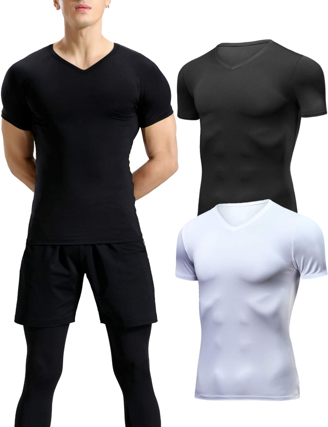 Lavento Men's Compression Shirts Cool Dry Short-Sleeve Workout Undershirts (2 Pack-V Neck Black/White,Small)