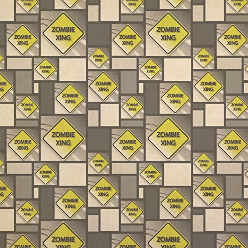 Zombie Xing Crossing Stylized Yellow Grey Caution Sign Kraft Present Gift Wrap Wrapping Paper ()