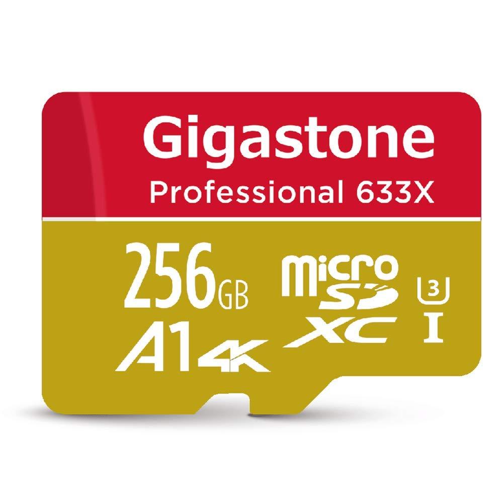 Gigastone 256GB Micro SD Card MicroSD U3 UHS-I C10, UHD 4K Video Recording, 4K Gaming, Read/Write 95/50 MB/s, with MicroSD to SD Adapter, Nintendo Dashcam Gopro Canon Nikon Camera Samsung Drone
