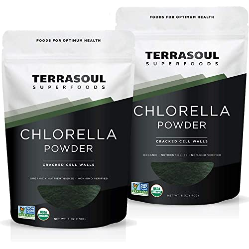 Terrasoul Superfoods Organic Chlorella Powder Cracked Cell Walls , 12 Oz 2 Pack – Sourced from Taiwan