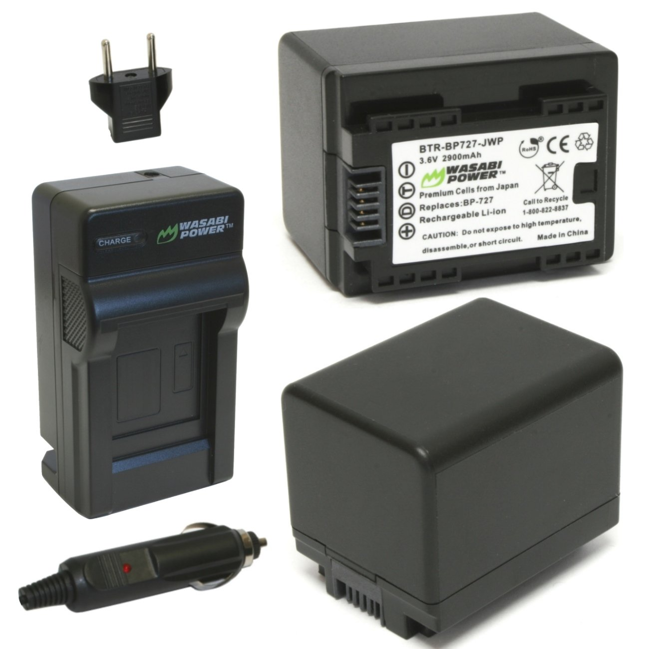 Wasabi Power Battery (2-Pack) and Charger for Canon BP-727, CG-700 and Canon VIXIA HF M50, HF M52, HF M500, HF R30, HF R32, HF R40, HF R42, HF R50, HF R52, HF R60, HF R62, HF R300, HF R400, HF R500, HF R600
