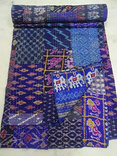 Patola Silk Patch Work Kantha Quilt , Kantha Blanket Bedspread, Patch Kantha Throw, King Kantha, Kantha Rallies Indian Sari Quilt, Size 90 X 108
