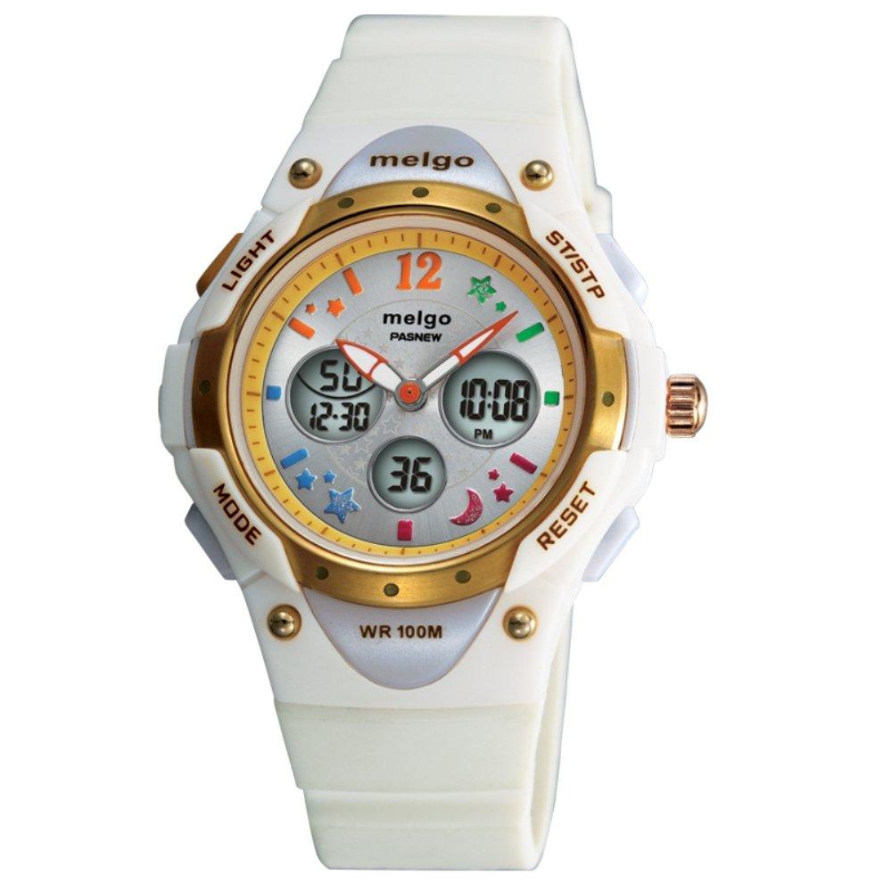 Jewtme Boys Grils Waterproof 100m Dual Time Unisex Children Outdoor Sport Watch -White