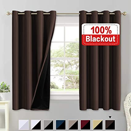 2 Panel Brown And Tan Faux Curtains Home & Garden