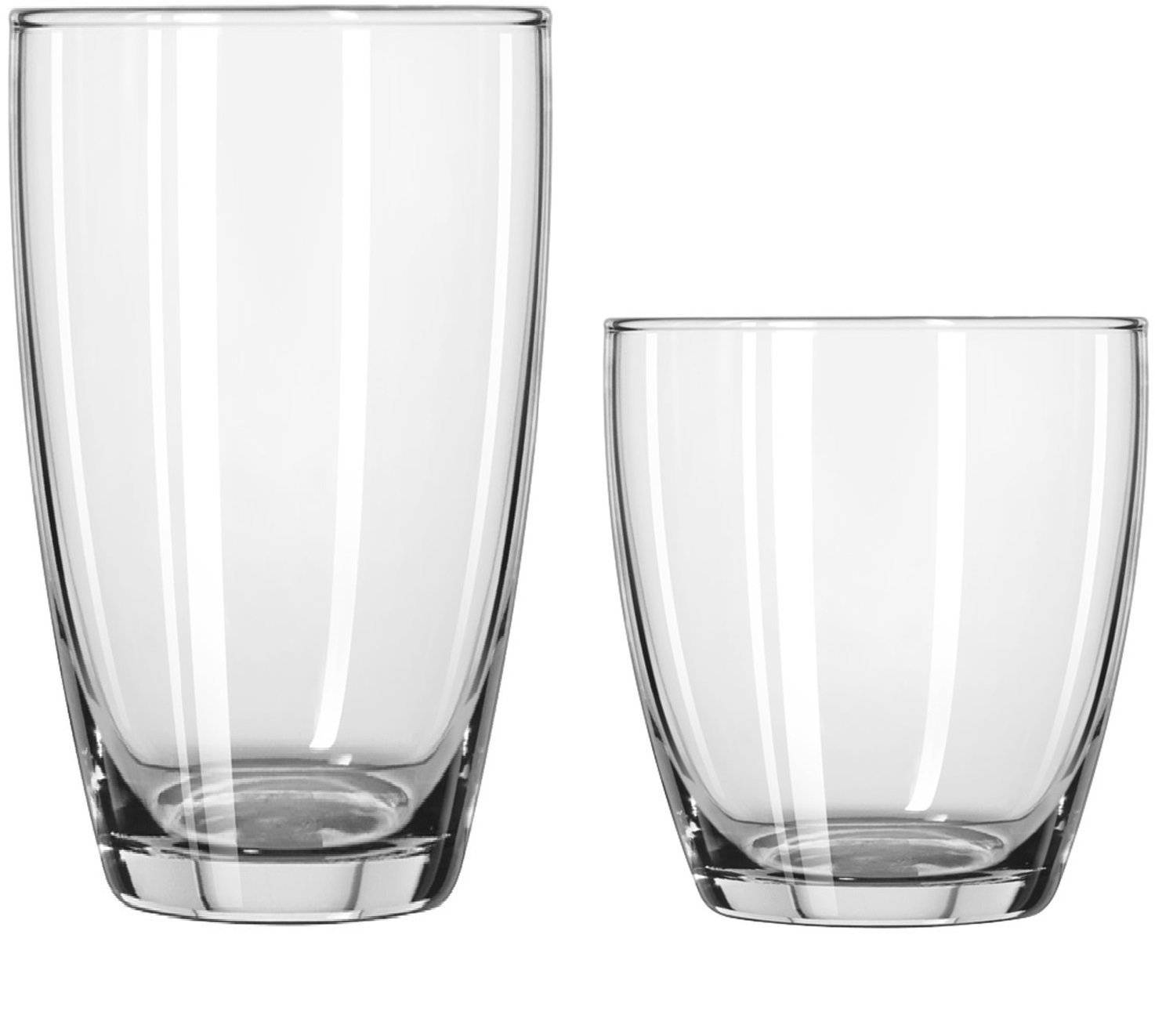 Circleware Smooth Huge Set of 16 Drinking Glasses, 8-16oz and 8-13oz Double Old Fashioned Whiskey Glass 44540