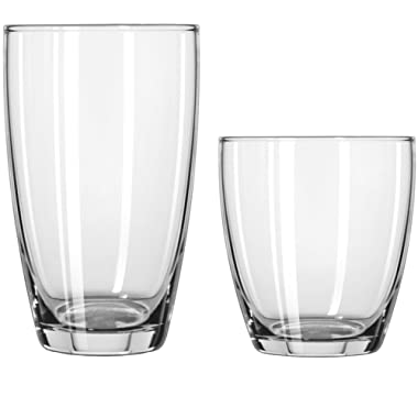 Circleware Smooth Huge Set of 16 Drinking Glasses, 8-16oz and 8-13oz Double Old Fashioned Whiskey Glass