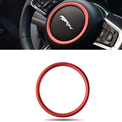 Jaguar XE XF F-PACE F-Type 2015-2020 Premium Aviation Aluminum Alloy Car Steering Wheel Decoration Ring Sticker Decals (red): Automotive