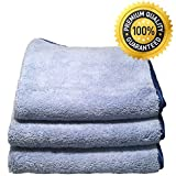Auto Detailing Towels - Professional Grade Premium 70/30 Split Microfiber Cloth 16 X 16 520 GSM (Pack of 3) - Best Microfiber Cleaning Cloth Preferred By Professional Detailers. The Cleaning Microfiber That's Ultra Thick, Super Absorbent with Silk Banded Edges, Scratch-free & Lint-free - 100% Guaranteed Model: Car/Vehicle Accessories/Parts