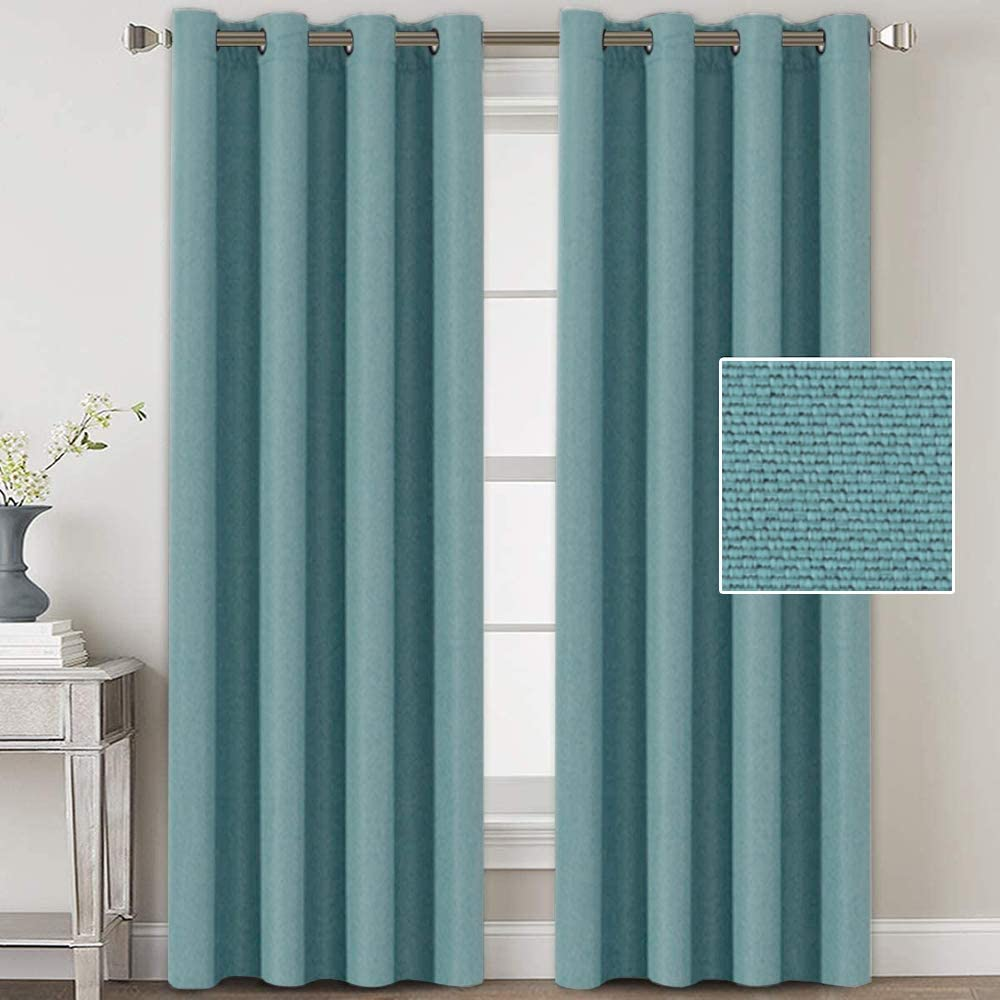 H.VERSAILTEX Linen Blackout Curtains 96 Inches Long for Bedroom/Living Room Thermal Insulated Grommet Curtain Drapes Primitive Textured Linen Burlab Effect Window Draperies 2 Panels - Eggshell Blue
