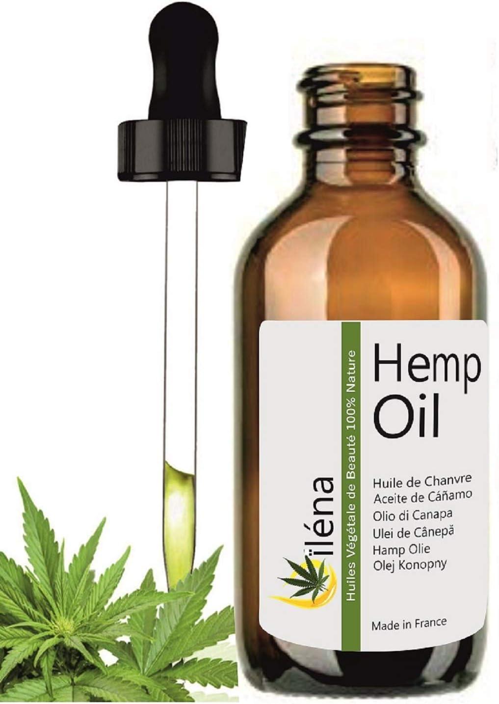 Aceite hidratante de masaje de Cañamo - hemp oil - Aceite calmante base para aceites esenciales Aceite barba, Envase de cristal (100 ml)