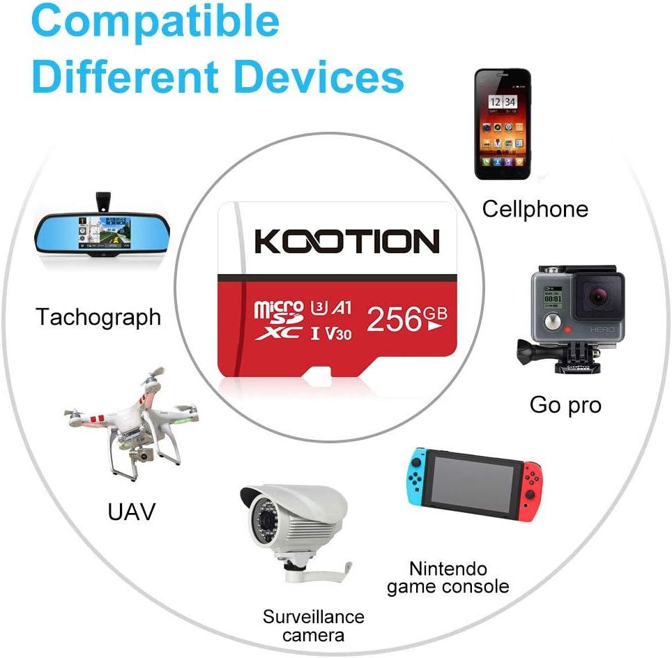 KOOTION Tarjeta de Memoria Micro SD 256GB Clase 10(U3 V30 A1)Tarjeta SD Micro SDXC Tarjeta MicroSD Memory Card TF Card Alta Velocidad de Lectura hasta 100 MB/s,para Móvil,Cámara Deportiva,Switch,Gopro: Amazon.es: Electrónica