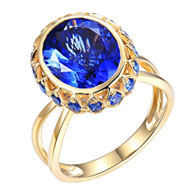 bd8ab5b545995 LoverJewelry Solid 14ct Yellow Gold Natural Tanzanite Rings with ...