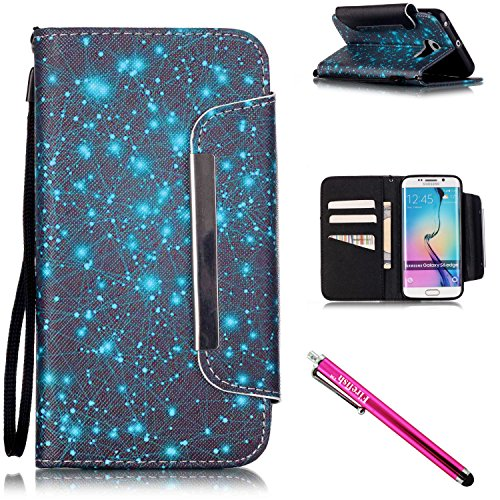 Galaxy S6 edge Case, Firefish [Kickstand] [Shock Absorbent] Double Protective Case Flip Folio Slim Magnetic Cover with Wrist Strap for Samsung Galaxy S6 edge-Starry