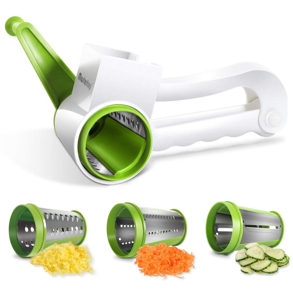 Mastertop 3 In 1 Manual Rotary Grater Cheese Grater Shredder Mini Vegetable Slicer Chopper with Stainless Steel Drum