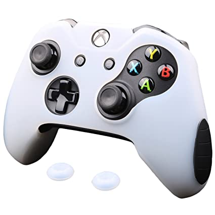Pandaren Xbox One Controller Grip, Super Thicker Skin Soft Silicone Cover  for Xbox One Controller Set (White Skin X 1 + Thumb Grip X 2)