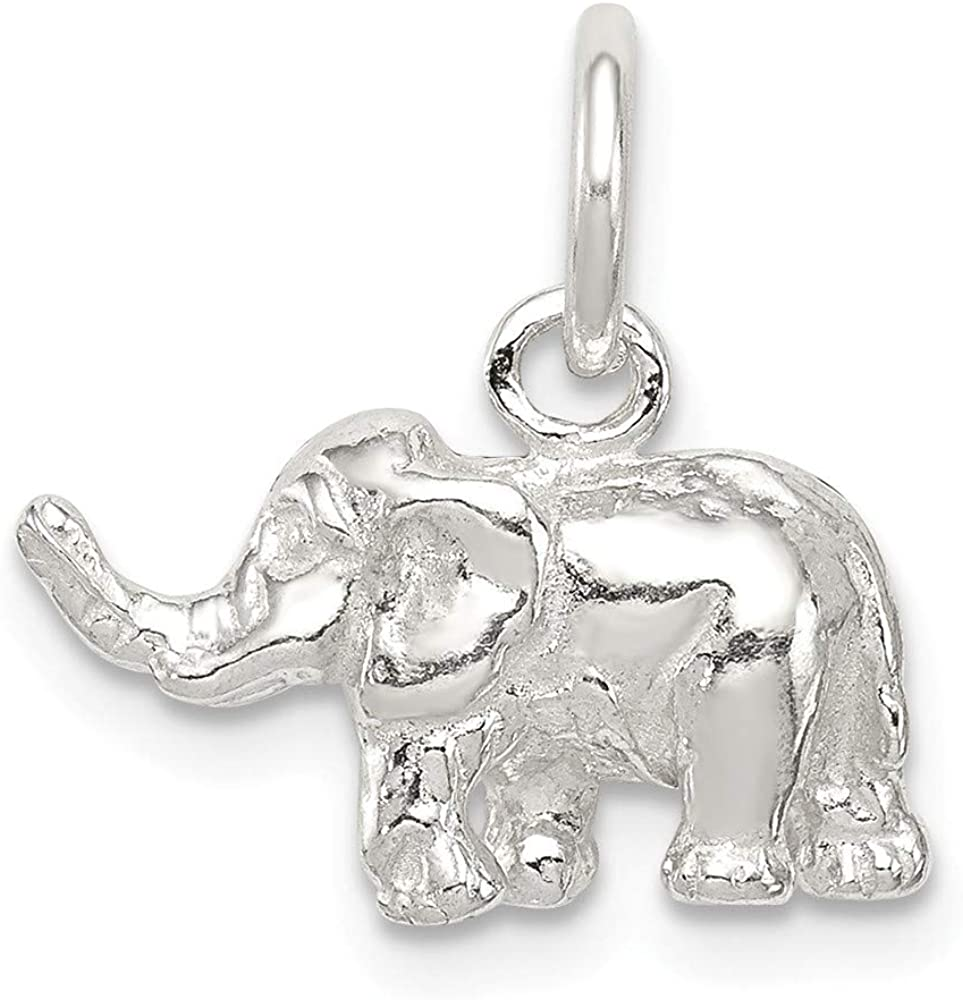 Mireval Sterling Silver Elephant Charm approximately 11 x 15 mm
