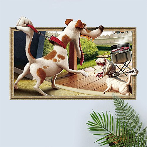 WSTJY 3D Dog Wall Art Decal Sticker, Easy to Peel and Stick Removable PVC Home Wall Decor Stickers for Kids Nursery Bedroom Living Room Kitchen