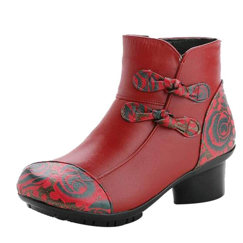 Miss Li Damen Leder Stiefeletten Blaumen Schuhe Ethnischen Stil Stiefel Leder Casual Stiefel Handgemachte Weiche Unterseite Bequeme Damenschuhe