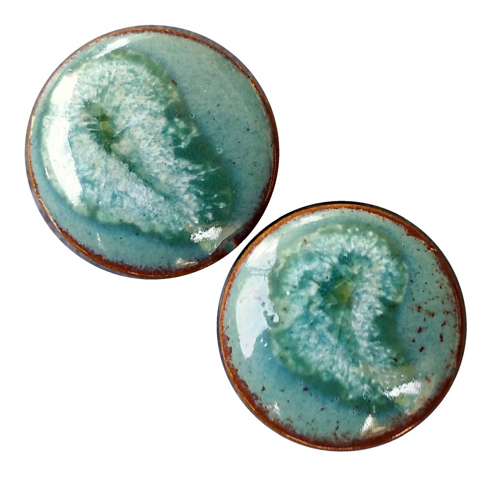 Pair - Seagreen Iceburg Ceramic Ear Plugs Organic Handmade double-flared gauges Essential Oil Diffuser (06mm 2g) by Imperial Plugs