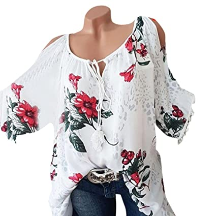 5f2daf7a75af Image Unavailable. Image not available for. Color  Big Sale! Women Blouse  Daoroka Sexy Plus Size Floral Tassel Short Sleeve Bandage Casual Tops
