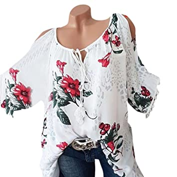 a1cf4981c6252b Image Unavailable. Image not available for. Color  Big Sale! Women Blouse  Daoroka Sexy Plus Size Floral Tassel Short Sleeve Bandage Casual Tops