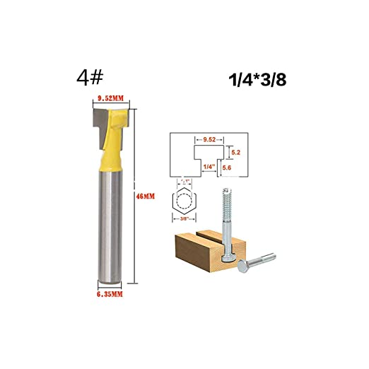 1Pc 8mm Shank T Slot Milling Cutters Router Bit Suit for 1//4 Hex Bot Tungsten Carbide Cutters for Wood Dollar Price,No5