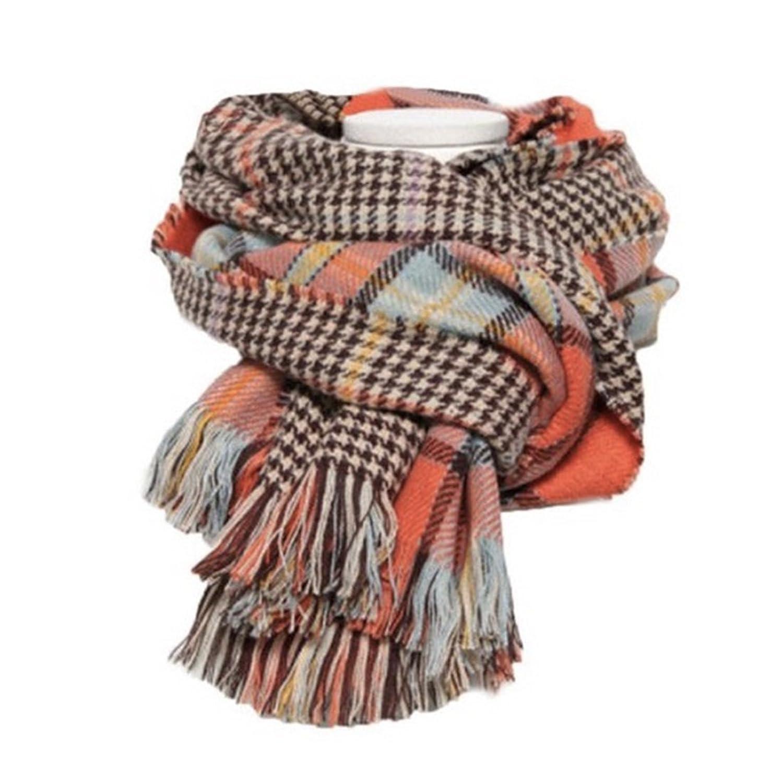 Women's Cozy Tartan Scarf Wrap Shawl Neck Stole Warm Plaid Checked Pashmina