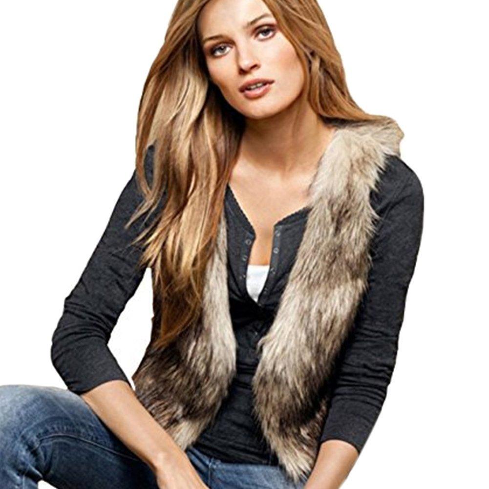 Dikoaina Fashion Women Faux Fur Waistcoat Short Vest Jacket Coat Sleeveless Outwear (S)