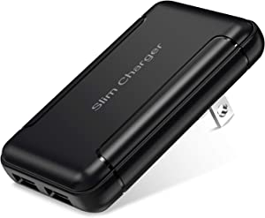 USB Charger, OKRAY Dual Port Extra Slim Portable & GaN Wall Charger with Foldable Plug, 2-Port Flat USB-A Phone Charger Power Adapter Charging Block Compatible with iPhone, Galaxy (Black)