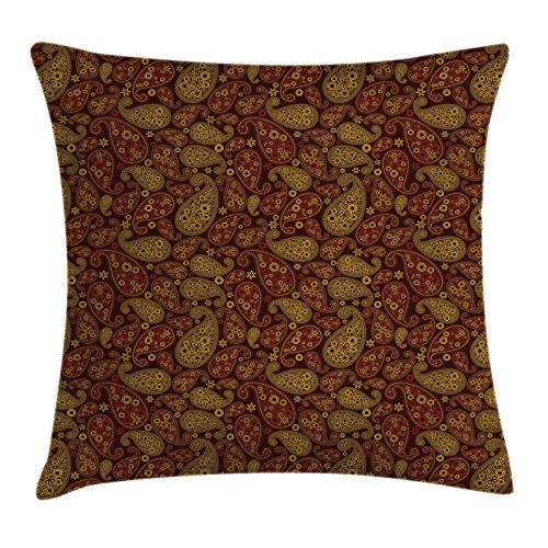 Ambesonne Paisley Throw Pillow Cushion Cover, Oriental Damask Leaves Middle Age Ottoman Art Inspired Boho Design, Decorative Square Accent Pillow Case, 18