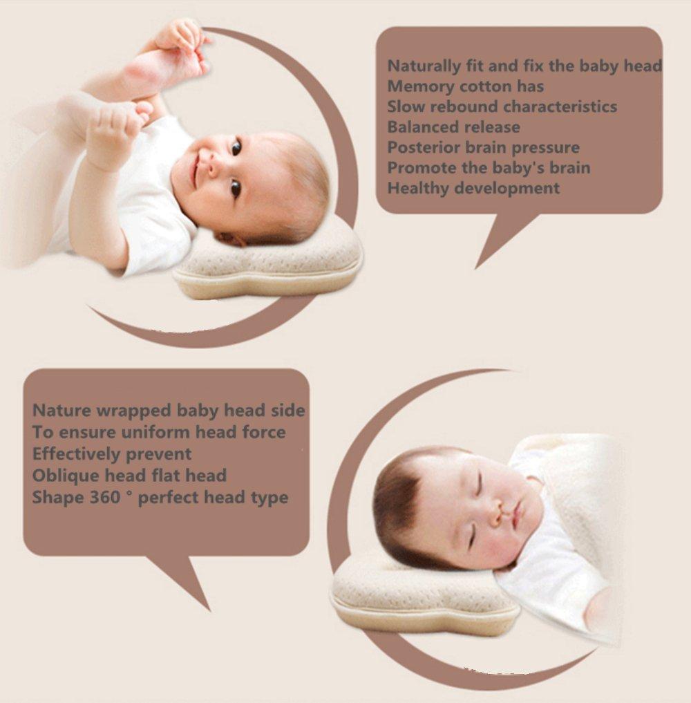 Almohada de espuma de memoria para bebé, evitar el síndrome de la cabeza plana en recién nacidos, almohada moldeadora (0 a 12 meses) rosa rosa ...