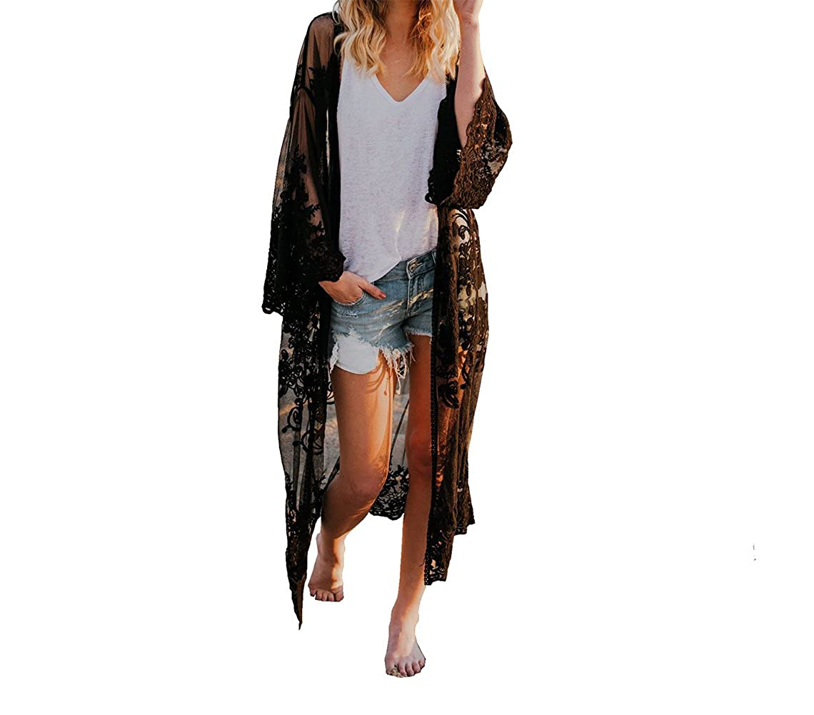 Flyself Damen Bikini Cover Up Blumenspitze-Häkelarbeit Kimono Cardigan Lange Spitze Maxikleid Boho Badeanzug Bedecken Pareos Strandkleid Vertuschung