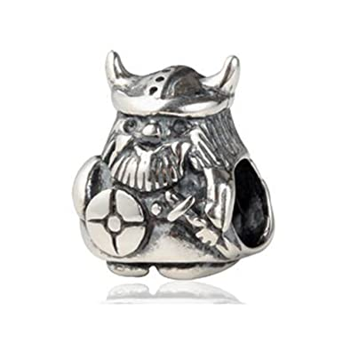 Queenberry Sterling Silver Viking Warrior European Style Bead Charm Kq1ZT