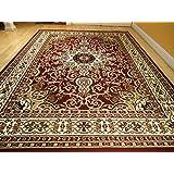 Area Rug Traditional Persian Design 8x11 Rug Burgundy 8x10 Rug Cream Beige Carpet Living Room Area Rugs