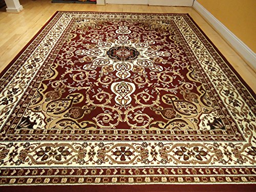 Area Rug Traditional Persian Design 8x11 Rug Burgundy 8x10
