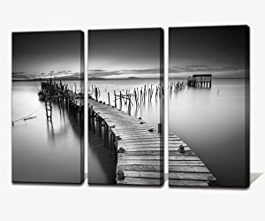 Noah Art-Modern Ocean Art Canvas Prints, A Peaceful Ancient Pier Seascape Canvas Art Black and White Landscape Paintings on Canvas, 3 Panel Beach Art Decor Framed Living Room Wall Art for Home Decor