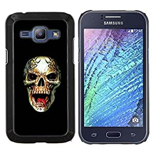 LECELL--Funda protectora / Cubierta / Piel For Samsung Galaxy J1 J100 -- Rogue Heavy Metal Skull Rock Negro --