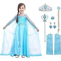URAQT Disfraz de Princesa Elsa, Traje del Vestido Traje de Princesa de la Nieve Vestido Infantil Disfraz de Princesa de…