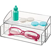 mDesign Compact Plastic Bathroom Organizer Storage Center with 1 Compartment and 1 Drawer for Organizing Contacts, Glasses, Dental Floss, Tweezers, Vitamins, Medicine - Clear
