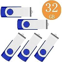 32GB Memorias USB 5 Piezas PenDrives - Giratoria Pen Drive 32 GB Unidad Flash USB 2.0 - Almacenamiento de Datos Externo (32 GB, Azul)