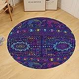 Gzhihine Custom round floor mat Psychedelic Traditional Indian Ramayan Epic Legend Divine God Culture Sacred Holy Avatar Design Bedroom Living Room Dorm Multi