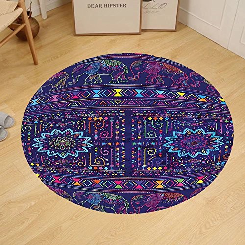 Gzhihine Custom round floor mat Psychedelic Traditional Indian Ramayan Epic Legend Divine God Culture Sacred Holy Avatar Design Bedroom Living Room Dorm Multi by Gzhihine