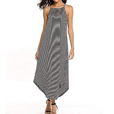 f280aa8f744 Hessimy Women Maxi Dress Striped Long Dresses Casual Loose Kaftan Oversized  Round Neck Sundress at Amazon Women s Clothing store