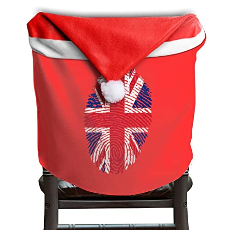 Fingerprint With American Flag Christmas Xmas Home Party Chair Seat  Slipcovers